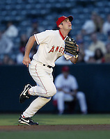 Adam Kennedy of the Los Angeles Angels during a 2002 MLB season game at Angel Stadium, in Anaheim, California. (Larry Goren/Four Seam Images)