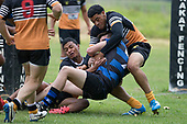 Zac Wootten gets held up over the tryline by Bobby Shelford-Lowry and Lani Latu. Counties Manukau Premier Counties Power Club Rugby Round 2, Game of the Week, between Te Kauwhata and Onewhero, played at Te Kauwhata on Saturday March 17th 2018. <br /> Photo by Richard Spranger.<br /> <br /> Onewhero won the game 43 - 10 after leading 21 - 10 at halftime.<br /> Te Kauwhata EnviroWaste  10 - Lani Latu try,  Caleb Brown 1 conversion, Caleb Brown 1 penalty.<br /> Onewhero 43 - Jackson Orr 2, Ilaisa Koaneti 2, Vaughan Holdt, Zac Wootten, Rhain Strang tries, Vaughan Holdt 4 conversions.