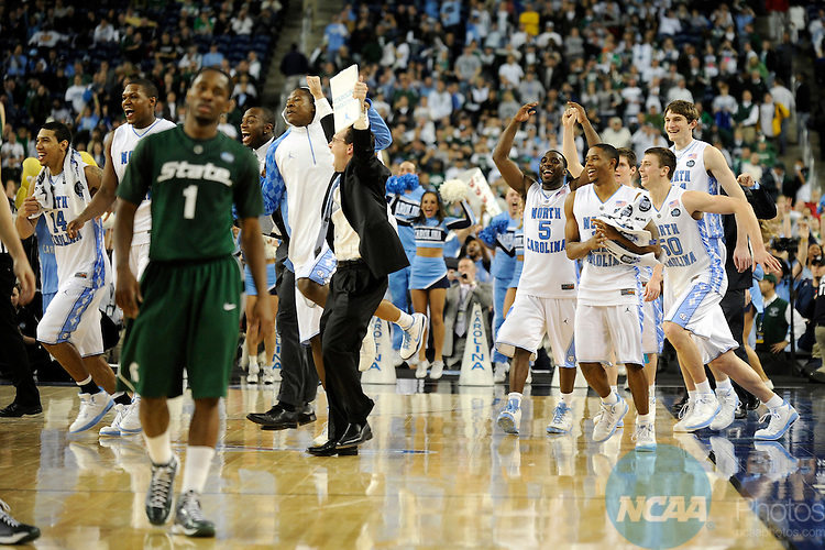 2009 APR 06: Members of the University of North Carolina Tar Heels rush the court at the end of the championship game of the 2009 Men's Final Four Division I Basketball Championships held at Ford Field in Detroit, MI. North Carolina defeated Michigan State 89-72 to claim the championship title. Photo: Ryan McKee/NCAA Photos