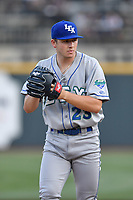 Starting pitcher Nolan Watson (23) of the Lexington Legends delivers a pitch in a game against the Columbia Fireflies on Friday, April 21, 2017, at Spirit Communications Park in Columbia, South Carolina. Columbia won, 5-0. (Tom Priddy/Four Seam Images)