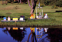 Near Maccan, NS, Nova Scotia, Canada - Miniature Model Houses and Buildings reflecting in Pond - Fundy Shore & Annapolis Valley Region