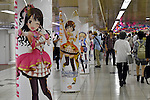 Colorful animation characters adorn the walls and pillars of the underground concourse of Tokyo's Shinjuku railroad station on Tuesday, September 13, 2016, in Tokyo, Japan. The promotion marks the first anniversary of the launch of The Idolmaster Cinderella Girls: Starlight Stage smartphone game app.  (Photo by Natsuki Sakai/AFLO) AYF -mis-
