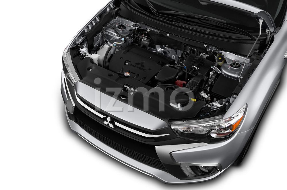 Car stock 2018 Mitsubishi Outlander Sport SEL 5 Door SUV engine high angle detail view