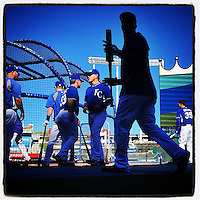 KANSAS CITY, MO - OCTOBER 20: Instagram of the Kansas City Royals working out the day before Game 1 of the World Series against the San Francisco Giants at Kauffman Stadium on October 20, 2014 in Kansas City, Missouri. Photo by Brad Mangin