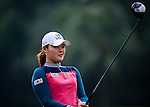 Min-Jeong Ko of Korea lines up a putt during the Hyundai China Ladies Open 2014 practice day on December 11 2014 at Mission Hills Shenzhen, in Shenzhen, China. Photo by Xaume Olleros / Power Sport Images