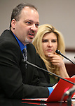 Nevada Assemblywoman Michele Fiore, R-Las Vegas, listens as Brian Wilson urges lawmakers to support a proposal to allow foster parents to have concealed weapon permits and weapons during a hearing at the Legislative Building in Carson City, Nev., on Wednesday, March 4, 2015.  <br /> Photo by Cathleen Allison