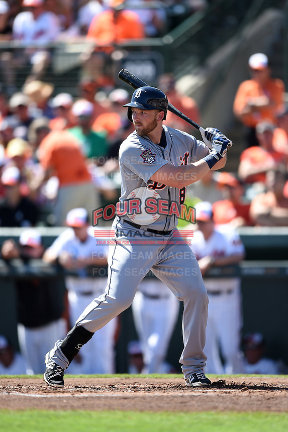 Detroit Tigers infielder Aaron Westlake (80) during a Spring Training game against the Baltimore Orioles on March 4, 2015 at Ed Smith Stadium in Sarasota, Florida.  Detroit defeated Baltimore 5-4.  (Mike Janes/Four Seam Images)