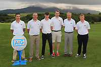 The Enniscrone Team for the Final of the Junior Cup in the AIG Cups & Shields Connacht Finals 2019 in Westport Golf Club, Westport, Co. Mayo on Thursday 8th August 2019.<br /> <br /> Joseph Forde Jnr, Padraic Clince, Cormac Feeney, Robert Jacob, John Kelly (Team Captain) and Connor Ruddy.<br /> <br /> Picture:  Thos Caffrey / www.golffile.ie<br /> <br /> All photos usage must carry mandatory copyright credit (© Golffile | Thos Caffrey)