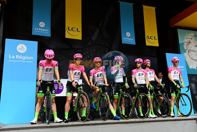 Team EF-Drapac-Cannondale introduced on stage at sign on before Stage 1 of the 2018 Criterium du Dauphine 2018 running 179km from Valence to Saint-Just-Saint-Rambert, France. 4th June 2018.<br /> Picture: ASO/Alex Broadway | Cyclefile<br /> <br /> <br /> All photos usage must carry mandatory copyright credit (© Cyclefile | ASO/Alex Broadway)