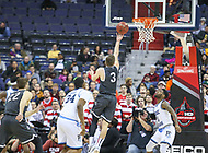 Washington, DC - March 11, 2018: Davidson Wildcats guard Jon Axel Gudmundsson (3) makes a layup during the Atlantic 10 championship game between Rhode Island and Davidson at  Capital One Arena in Washington, DC.   (Photo by Elliott Brown/Media Images International)