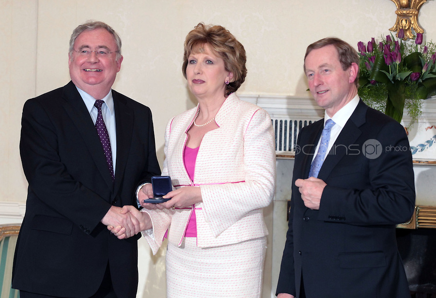 9/3/11 Pat Rabbitte, Minister for Communications, Energy and Natural Resources, President Mary McAleese and Taoiseach Enda Kenny at Aras An Uachtarain for the appoinment of the Government. Picture Colin Keegan,Collins
