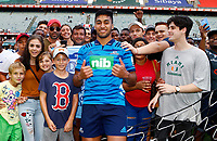 DURBAN, SOUTH AFRICA - FEBRUARY 23: Rieko Ioane of the Blues with the fans during the Super Rugby match between Cell C Sharks and Blues at Jonsson Kings Park on February 23, 2019 in Durban, South Africa. Photo: Steve Haag / stevehaagsports.com