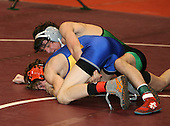 James Loomis and Jesse Sgaglione wrestle at the 125 weight class during the NY State Wrestling Championships at Blue Cross Arena on March 8, 2008 in Rochester, New York.  (Copyright Mike Janes Photography)