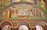 Mosaic depicting Abel making sacrifice. Byzantine Roman mosaics of the Basilica of San Vitale in Ravenna, Italy. Mosaic decoration paid for by Emperor Justinian I in 547. A UNESCO World Heritage Site