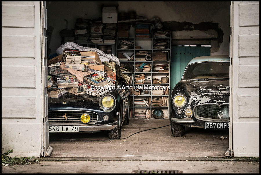 BNPS.co.uk (01202 558833)<br /> Pic: ArtcurialMotorcars/BNPS<br /> <br /> ***Please Use Full Bylne***<br /> <br /> Ferrari 250 GT California SWB and Maserati A6G 200 Berlinetta Grand Sport Frua.<br /> <br /> An incredible £12 million treasure trove of classic cars has been discovered after spending 50 years languishing in storage on a farm.<br /> <br /> The 60 rusting motors, which include a vintage Ferrari California Spider, a Bugatti and a very rare Maserati, were found gathering dust and hidden under piles of newspapers in garages and outbuildings at a property in France.<br /> <br /> The 'once-in-a-lifetime' find has been compared to a major archaeological discovery, on a par with Tutankhamun's tomb.