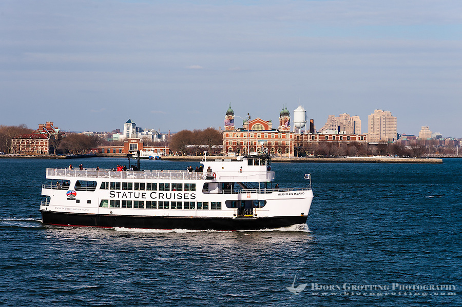 US, New York City. Ellis Island seen from the Staten Island Ferry.
