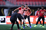 ATLANTA, GA - DECEMBER 07: Atlanta United FC's Josef Martinez and Miguel Almiron. The MLS Cup 2018 Team Training Sessions were held on December 7, 2018 at the Mercedes Benz Stadium in Atlanta, GA.