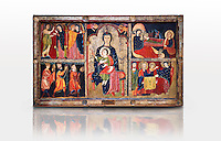 The Romanesque Altar Front of Avia<br /> <br /> Around 1200, Tempera on wood with metalic ornamention from the church of Santa Maria d'Avia, Spain.<br /> <br /> National Art Museum of Catalonia, Barcelona. MNAC 15784<br /> <br /> <br /> The altar front of Byzantine art d'Avia depicting scenes from the life of the Virgin Mary and the nativity. The artistic style of the Altar front relies heavily of Byzantine influences. The intensity and variety of colors and the systematic application of appliqu&eacute; are typical of eastern Mediterranean and Byzantine art . This can also be seen in the style and hand positions of the Virgin Mary and child, at the centre of the altar piece, which copies a style known as &ldquo;Our Lady of the Way&rdquo; which in turn minics the orthodox icon &ldquo;the Virgin Hodegetria&rdquo;.
