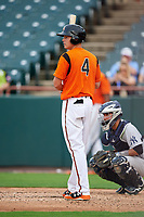 Bowie Baysox third baseman Ryan Mountcastle (4) at bat in front of catcher Francisco Diaz (10) during the first game of a doubleheader against the Trenton Thunder on June 13, 2018 at Prince George's Stadium in Bowie, Maryland.  Trenton defeated Bowie 4-3.  (Mike Janes/Four Seam Images)