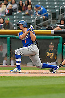 T.J. Rivera (3) of the Las Vegas 51s follows through on his swing against the Salt Lake Bees during the Pacific Coast League game at Smith's Ballpark on September 4, 2016 in Salt Lake City, Utah. The Bees defeated the 51s 4-3. (Stephen Smith/Four Seam Images)