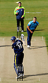 CB40 Cricket - Durham Dynamos V Scottish Saltires at Chester-le-Street 29.8.10 - Dynamos batsman Ben Harmison looks behind to see a catch being taken, losing his wicket to Saltires bowler Matthew Parker, in front of Umpire Paul Baldwin - Picture by Donald MacLeod - mobile 07702 319 738 - clanmacleod@btinternet.com - words if required from William Dick 077707 839 23
