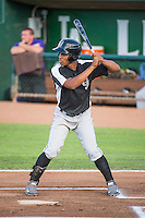 Daniel Suero (3) of the Grand Junction Rockies at bat against the Ogden Raptors in Pioneer League action at Lindquist Field on July 6, 2015 in Ogden, Utah.Ogden defeated Grand Junction 8-7.  (Stephen Smith/Four Seam Images)