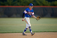 Mooresville Post 66 shortstop Mason Staz (12) on defense against Kannapolis Post 115 during an American Legion baseball game at Northwest Cabarrus High School on May 30, 2019 in Concord, North Carolina. Mooresville Post 66 defeated Kannapolis Post 115 4-3. (Brian Westerholt/Four Seam Images)