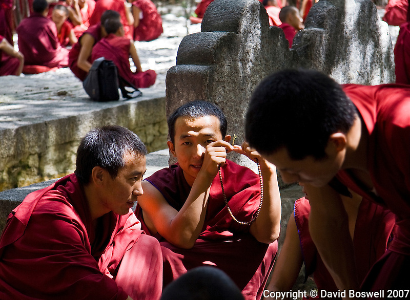Monks at Sera Monastery in Lhasa, Tibet debate eternal questions.