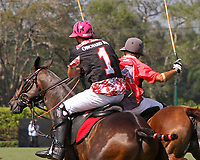 WELLINGTON, FL - MARCH 12:  Polito Pieres of Orchard Hill (black jersey) and Tomas Pieres of Audi fight for control of the line as Orchard Hill defeats Audi 9-8, in the early rounds of the 26 goal USPA Gold Cup at the International Polo Club, Palm Beach on March 12, 2017 in Wellington, Florida. (Photo by Liz Lamont/Eclipse Sportswire/Getty Images)