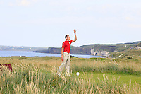 Owen Edwards (WAL) on the 15th tee during the Afternoon Singles between Ireland and Wales at the Home Internationals at Royal Portrush Golf Club on Thursday 13th August 2015.<br /> Picture:  Thos Caffrey / www.golffile.ie