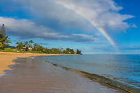 A rainbow off of the beach in Waialua, North Shore, O'ahu.