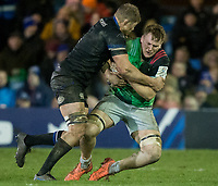 Harlequins' Alex Dombrandt is tackled by Bath Rugby's Tom Ellis<br /> <br /> Photographer Bob Bradford/CameraSport<br /> <br /> European Rugby Heineken Champions Cup Group C - Bath Rugby v Harlequins - Friday 10th January 2020 - The Recreation Ground - Bath<br /> <br /> World Copyright © 2019 CameraSport. All rights reserved. 43 Linden Ave. Countesthorpe. Leicester. England. LE8 5PG - Tel: +44 (0) 116 277 4147 - admin@camerasport.com - www.camerasport.com
