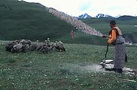 Tibetan sky burial at Denke Monastery outside Tagong.