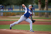 Los Angeles Dodgers pitcher Caleb Dirks (27) during an instructional league game against the Cincinnati Reds on October 20, 2015 at Cameblack Ranch in Glendale, Arizona.  (Mike Janes/Four Seam Images)