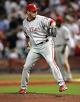 Phillies pitcher JD Durbin on Thursday May 22nd at Minute Maid Park in Houston, Texas. Photo by Andrew Woolley / Four Seam Images.