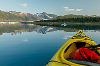 Summer landscape kayaking on Bear Glacier Lagoon with icebergs in Kenai Fjords National Park.  Kenai Penninsula, Summer, Alaska   <br /> <br /> Photo by Jeff Schultz/  (C) 2019  ALL RIGHTS RESERVED