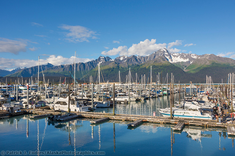 Boats in the harbor in Seward, Alaska.