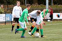 HAREN - Voetbal, Be Quick - HSC 21, derde divisie zondag, seizoen 2017-2018, 05-11-2017,   Raymond Bolt probeert tussen Mark Engebrink (l) en Kevin Spanjaard door te komen