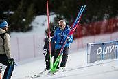 16th March 2018, Àvet Slope, Soldeu, Andorra; FIS Alpine Ski European Cup, Giant Ladies Finals; Technical Director FIS Miln Bozin places sllom poles before the race