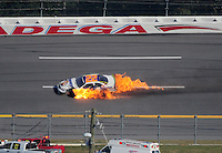Oct 3, 2008; Talladega, AL, USA; ARCA RE/MAX Series driver Ken Butler III (22)drives in a ball of fire after crashing during the Remax 250 at Talladega Superspeedway. Mandatory Credit: Mark J. Rebilas-