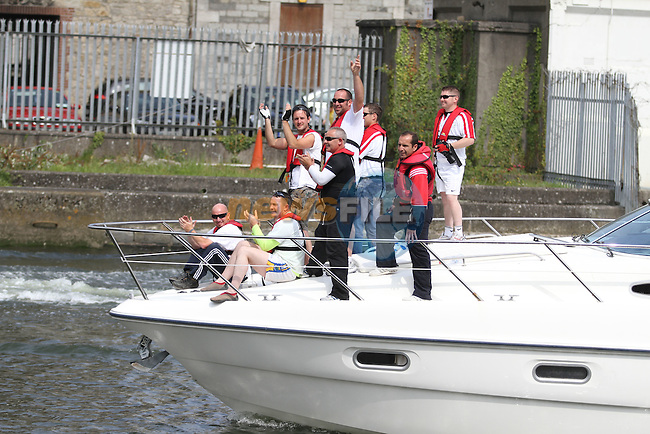 """as the """"Oars of Hope"""" rowers arrive back in Drogheda...(Photo credit should read Jenny Matthews www.newsfile.ie)....This Picture has been sent you under the conditions enclosed by:.Newsfile Ltd..The Studio,.Millmount Abbey,.Drogheda,.Co Meath..Ireland..Tel: +353(0)41-9871240.Fax: +353(0)41-9871260.GSM: +353(0)86-2500958.email: pictures@newsfile.ie.www.newsfile.ie."""