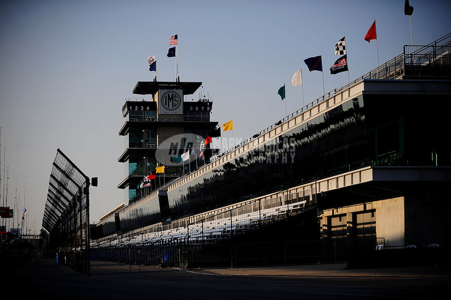 May 29, 2010; Indianapolis, IN, USA; General view of the main grandstands and pagoda on the front stretch after the track was closed on the evening prior to the Indianapolis 500 at the Indianapolis Motor Speedway. Mandatory Credit: Mark J. Rebilas-