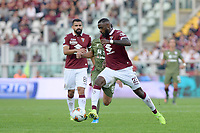 27th October 2019; Olympic Grande Torino Stadium, Turin, Piedmont, Italy; Serie A Football, Torino versus Cagliari; Nicolas Nkoulou of Torino FC on the ball - Editorial Use