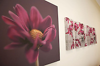 A series of pictures on canvas of magenta flowers used as bed headboard.