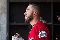 Lucas Erceg (34) of the Carolina Mudcats waits for his turn to hit during the game against the Winston-Salem Dash at Five County Stadium on May 14, 2017 in Zebulon, North Carolina.  The Mudcats walked-off the Dash 11-10.  (Brian Westerholt/Four Seam Images)