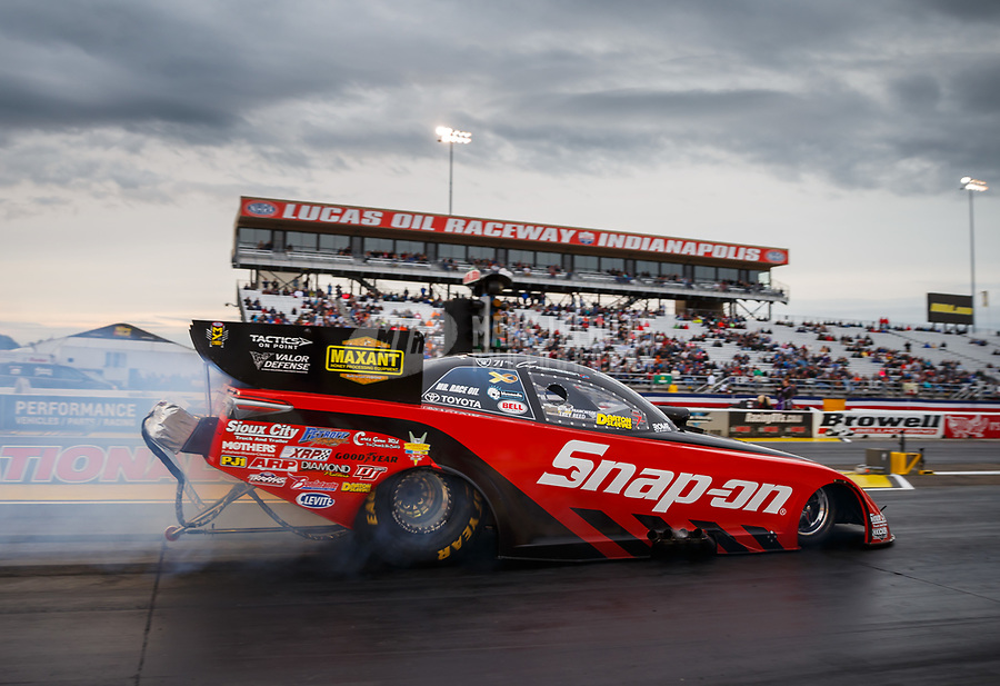 Sep 1, 2017; Clermont, IN, USA; NHRA funny car driver Cruz Pedregon during qualifying for the US Nationals at Lucas Oil Raceway. Mandatory Credit: Mark J. Rebilas-USA TODAY Sports