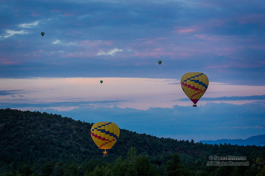 Balloons at Sunrise over Mescal Trail, Arizona