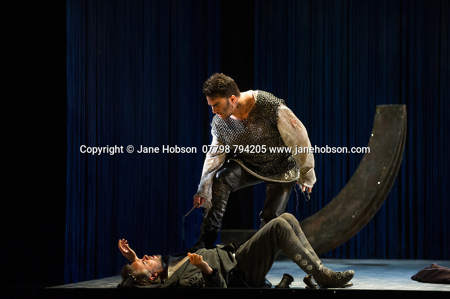 London, UK. 15.10.2014. English Touring Opera presents OTTONE, by George Frideric Handel, directed by James Conway, at the Hackney Empire. Picture shows:  Andrew Radley (Adelberto) and Grant Doyle (Emireno - ground). Photograph © Jane Hobson.
