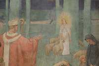 Germanus of Auxerre blessing Sainte Genevieve, fresco in the Northern transept, 1926 - 1927, directed by Maitre Paul Baudoin, Nanterre Cathedral (Cathédrale Sainte-Geneviève-et-Saint-Maurice de Nanterre), 1924 - 1937, by architects Georges Pradelle and Yves-Marie Froidevaux, Nanterre, Hauts-de-Seine, France. Picture by Manuel Cohen