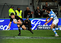 Beauden Barrett scores during the Rugby Championship match between the NZ All Blacks and Argentina Pumas at Yarrow Stadium in New Plymouth, New Zealand on Saturday, 9 September 2017. Photo: Dave Lintott / lintottphoto.co.nz